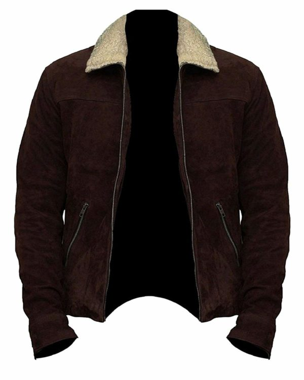 Rick Grimes Brown Suede Leather Jacket Font