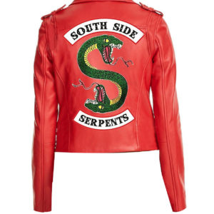 women southside riverdale S Logo jacket red Back