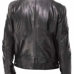VINTAGE CAFE RACER BLACK _ BROWN RETRO BIKER LEATHER JACKET