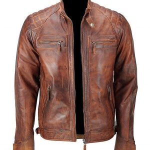 Distressed Brown Classic Diamond Leather Jacket Front
