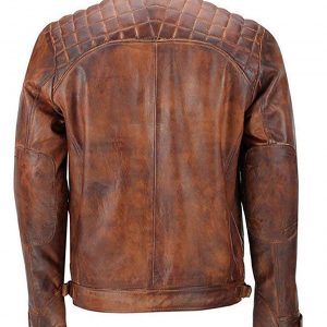 Distressed Brown Classic Diamond Leather Jacket Back