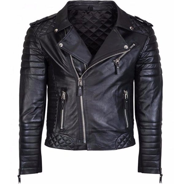 Diamond Quilted Kay Michael Soft Leather Mens Black Biker Jacket