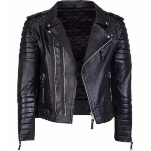 Diamond Quilted Kay Michael Soft Leather Mens Black Biker Jacket Side