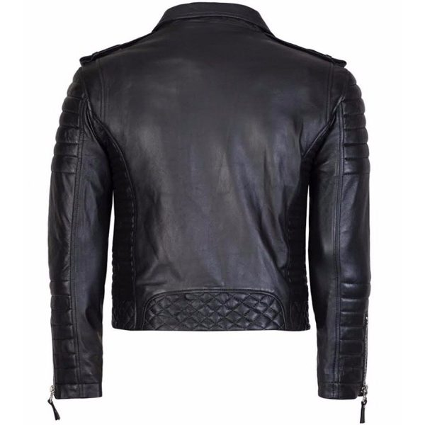 Diamond Quilted Kay Michael Soft Leather Mens Black Biker Jacket Back
