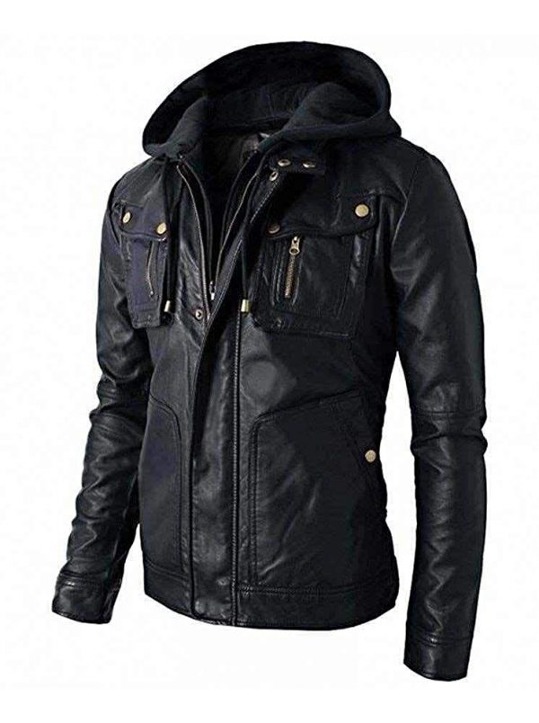 New Men_s Motorcycle Brando Style Biker Real Leather Hoodie Jacket - Detach Hood Side