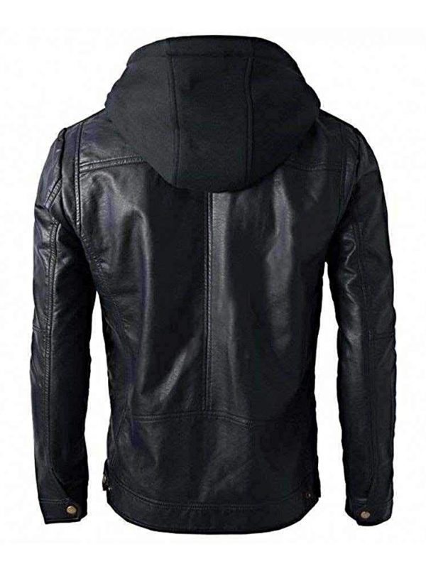 New Men_s Motorcycle Brando Style Biker Real Leather Hoodie Jacket - Detach Hood Back