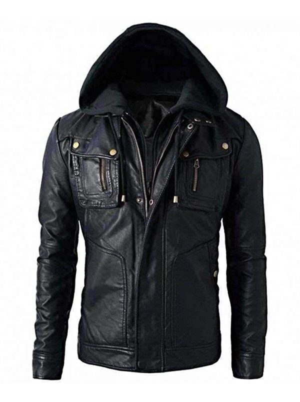 New Men_s Motorcycle Brando Style Biker Real Leather Hoodie Jacket - Detach Hood Front