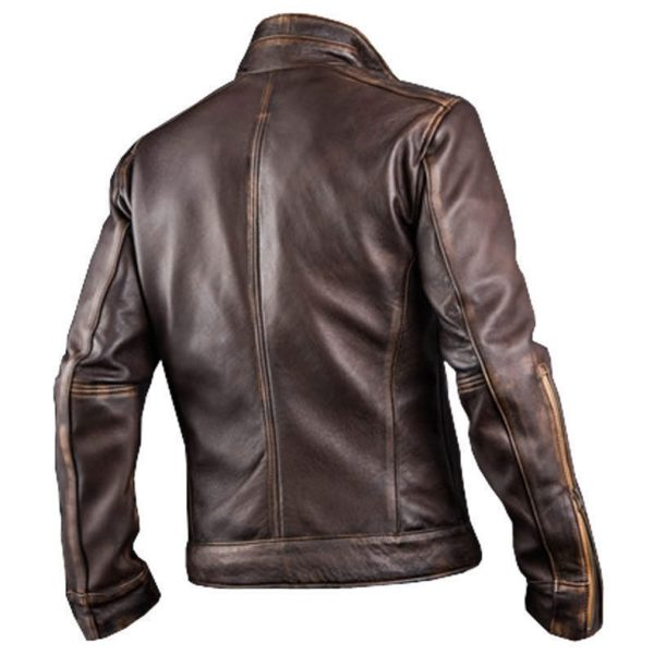 New Men's Cafe Racer Stylish Distressed-Brown Biker Vintage Leather Jacket Back