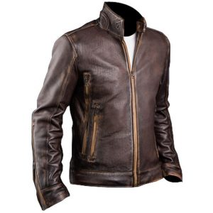 New Men's Cafe Racer Stylish Distressed-Brown Biker Vintage Leather Jacket Side