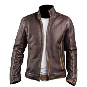 New Men's Cafe Racer Stylish Distressed-Brown Biker Vintage Leather Jacket Front
