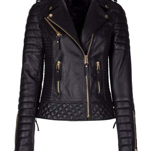 Women Diamond Quilted Kay Leather Black Biker Jacket