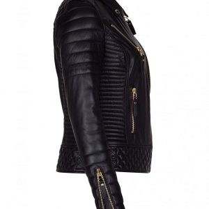 Women Diamond Quilted Kay Leather Black Biker Jacket Side